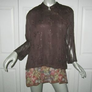 APRIL CORNELL Brown Embroidered/Floral Blouse L